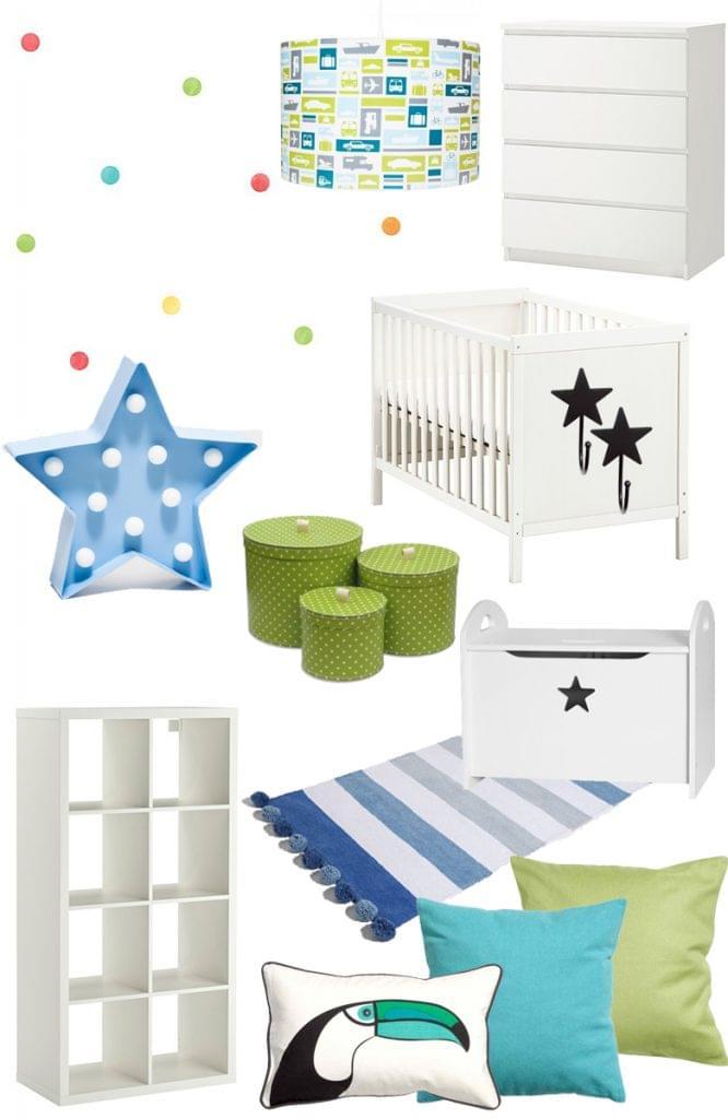 pokój dla chłopca niebiesko-zielony